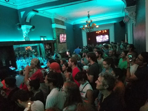 The crowd on the second floor. This was before the episode started. There is a whole other room on the far side.