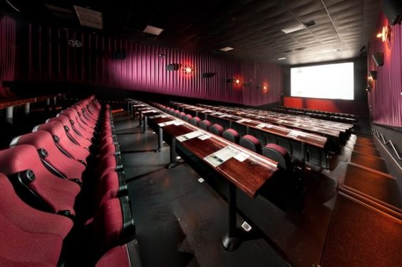 Typical seating arrangement at an Alamo theatre room.